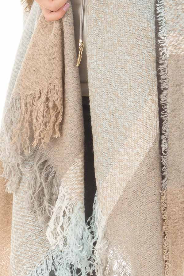 Dusty Blue and Mocha Plaid Shawl with Fringe Detail front detail