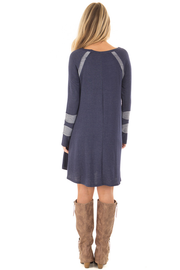 Navy Comfy Dress with Stripe Details and Side Pockets back full body