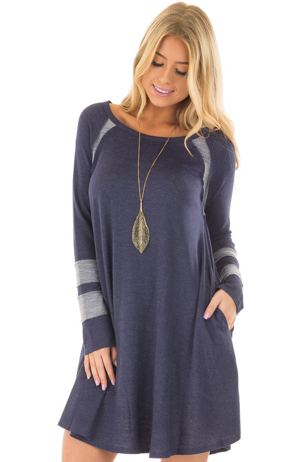 Navy Comfy Dress with Stripe Details and Side Pockets front closeup