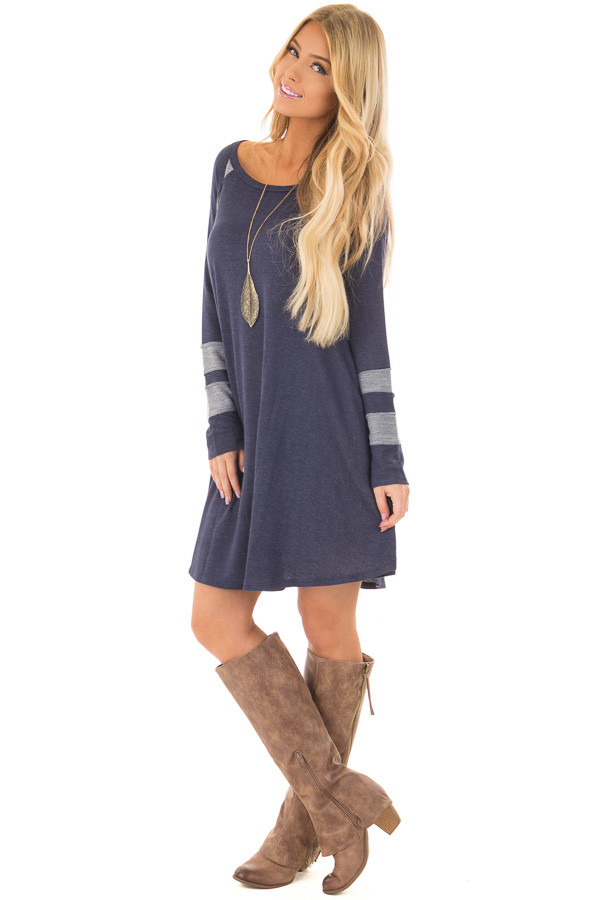 Navy Comfy Dress with Stripe Details and Side Pockets front full body