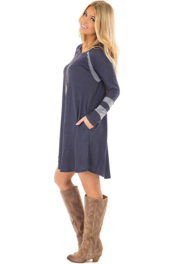 Navy Comfy Dress with Stripe Details and Side Pockets side full body