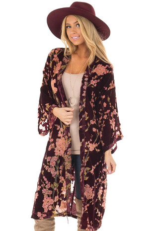 Wine Sheer Floral Print Velvet Kimono with Waist Tie front closeup