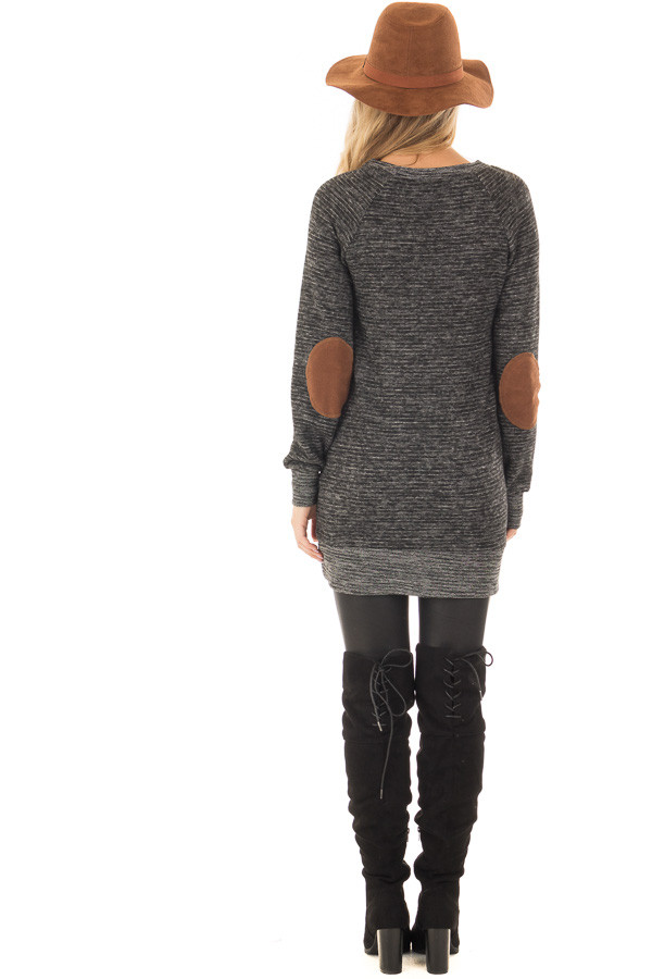 Black Two Toned Long Sleeve Top with Elbow Patches back full body