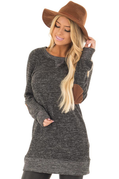 Black Two Toned Long Sleeve Top with Elbow Patches front closeup