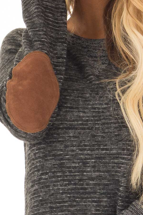 Black Two Toned Long Sleeve Top with Elbow Patches front detail