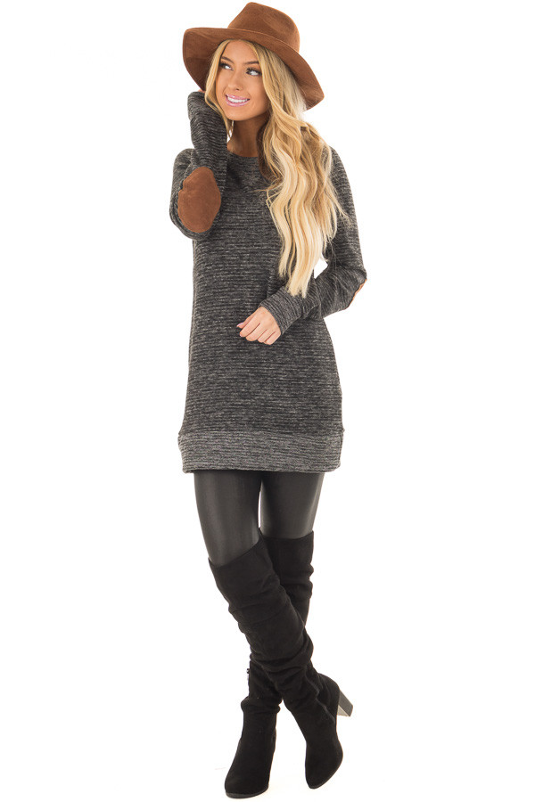 Black Two Toned Long Sleeve Top with Elbow Patches front full body