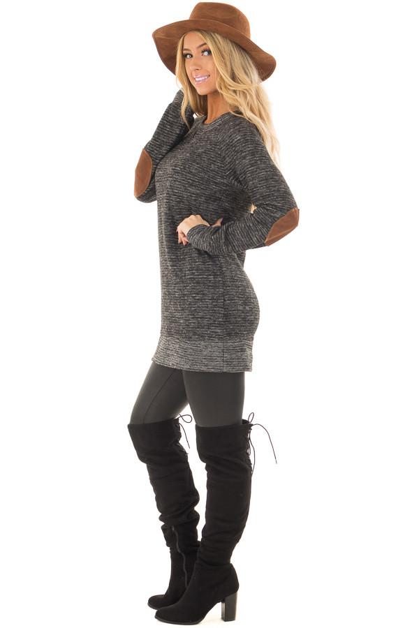 Black Two Toned Long Sleeve Top with Elbow Patches side full body