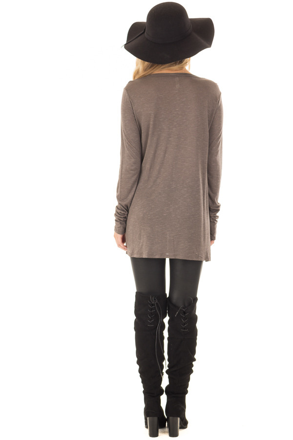 Smokey Brown Long Sleeve Tee Shirt with Breast Pocket back full body