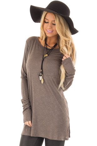 Smokey Brown Long Sleeve Tee Shirt with Breast Pocket front closeup