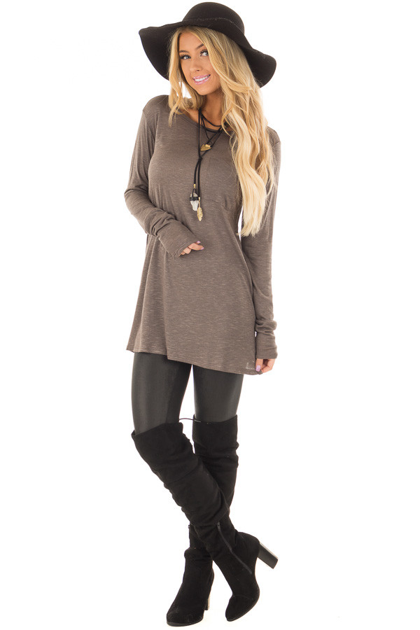 Smokey Brown Long Sleeve Tee Shirt with Breast Pocket front full body