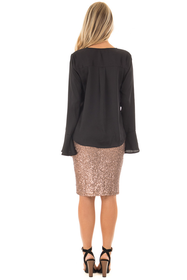 Black Textured Blouse with Front Knot Layered Detail back full body