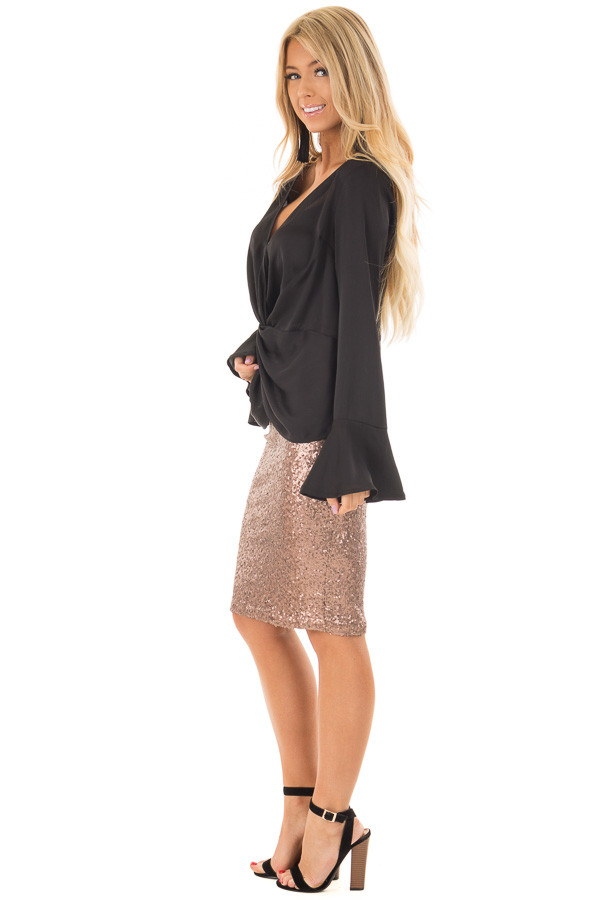Black Textured Blouse with Front Knot Layered Detail side full body