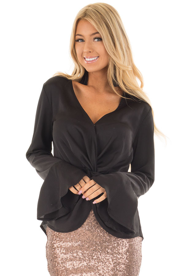 Black Textured Blouse with Front Knot Layered Detail front closeup