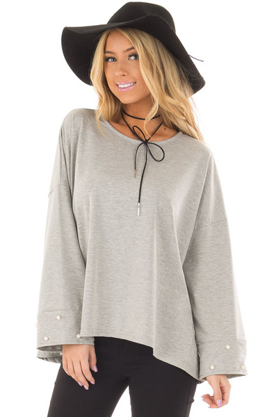 Heather Grey Hi Low Sweater with Pearl Cuff Details front closeup