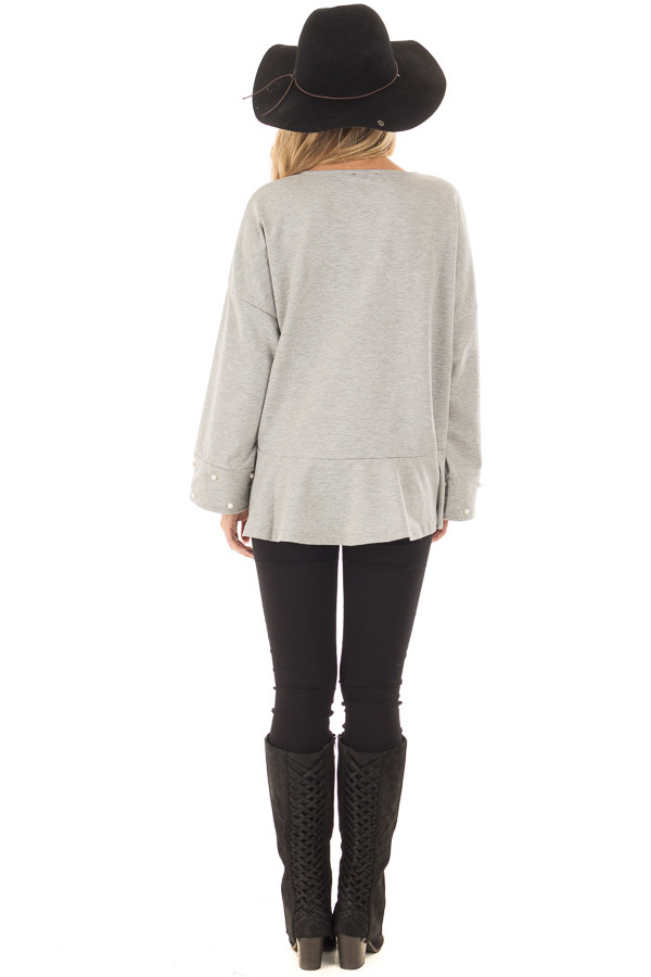 Heather Grey Hi Low Sweater with Pearl Cuff Details back full body