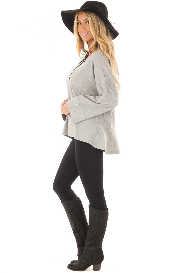Heather Grey Hi Low Sweater with Pearl Cuff Details side full body