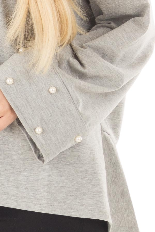 Heather Grey Hi Low Sweater with Pearl Cuff Details front detail