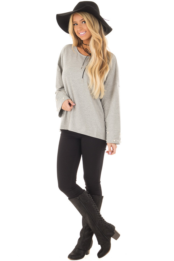 Heather Grey Hi Low Sweater with Pearl Cuff Details front full body