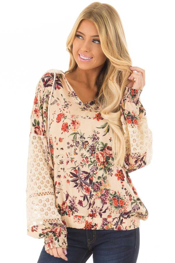 Taupe Floral Print Hoodie with Sheer Lace Details front closeup