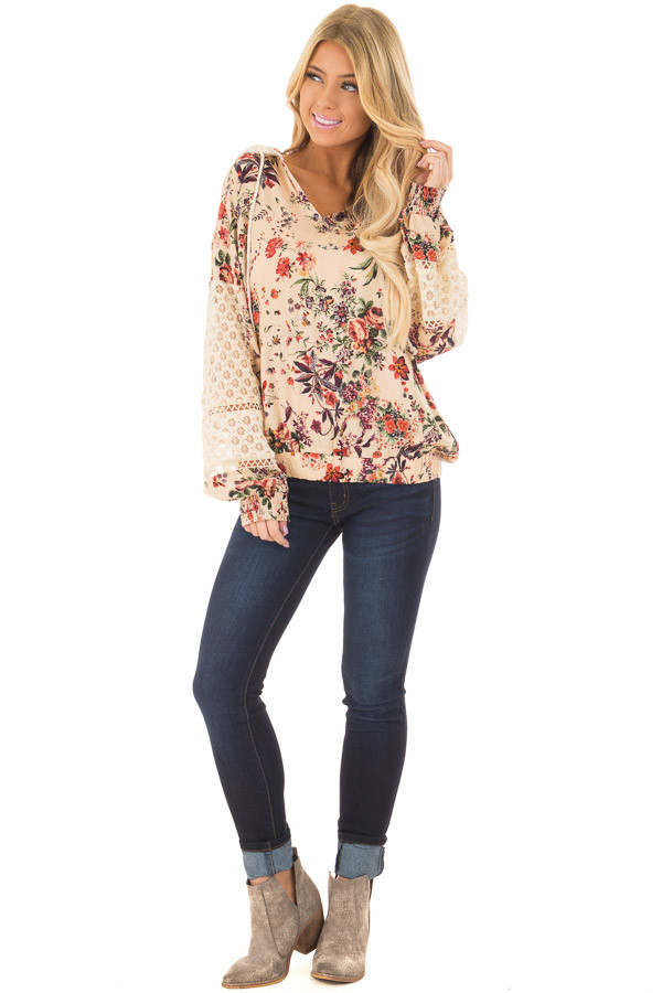 Taupe Floral Print Hoodie with Sheer Lace Details front full body
