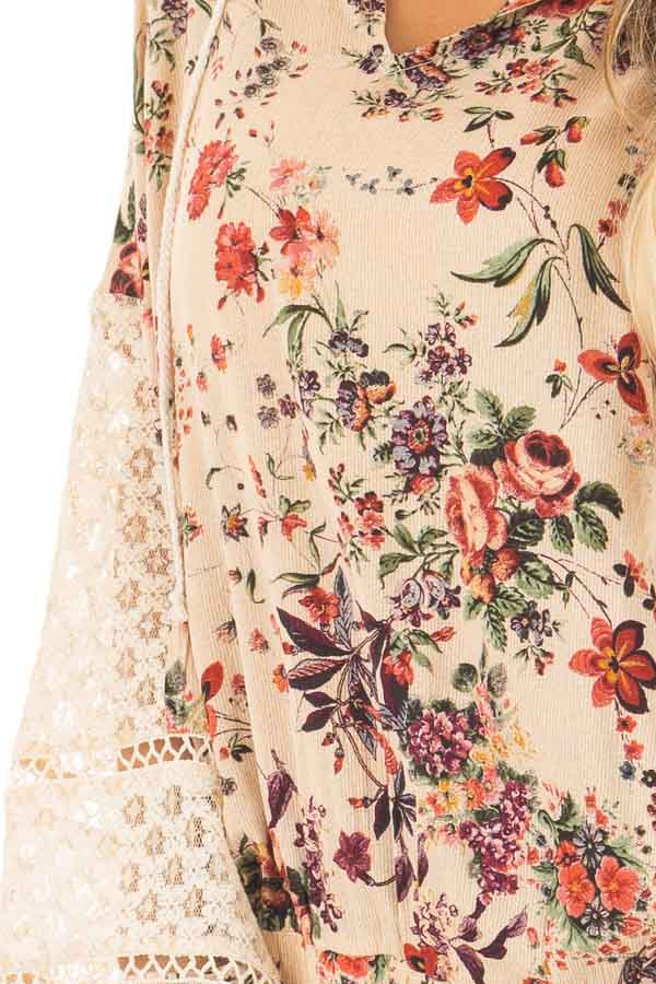 Taupe Floral Print Hoodie with Sheer Lace Details front detail