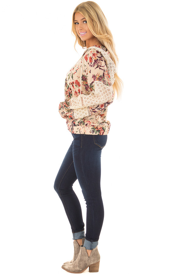Taupe Floral Print Hoodie with Sheer Lace Details side full body