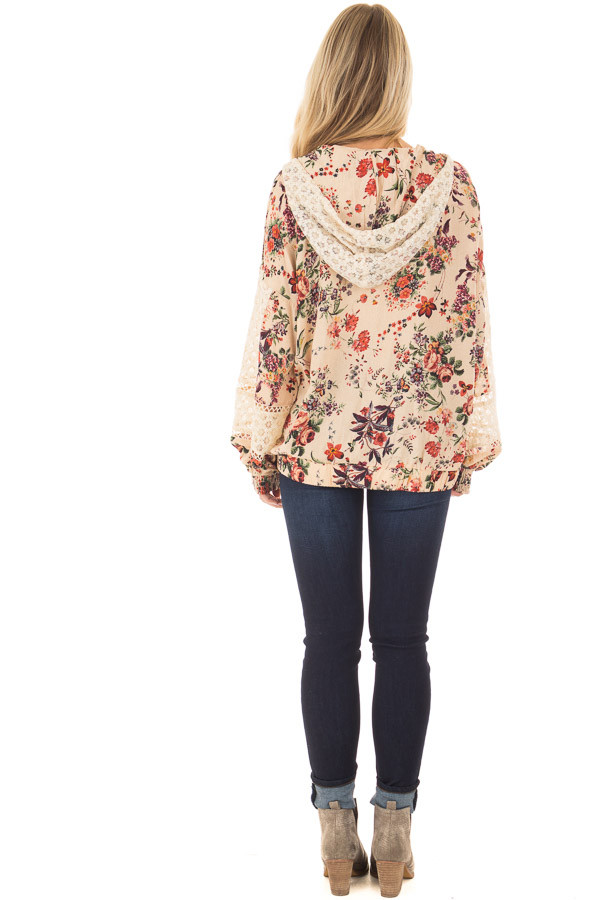 Taupe Floral Print Hoodie with Sheer Lace Details back full body