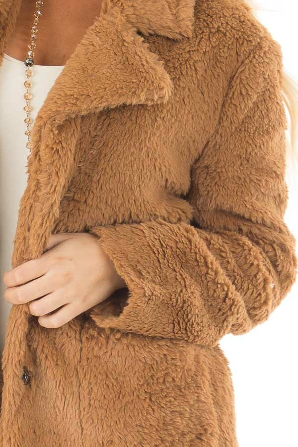 Camel Faux Fur Jacket with Pockets and Button Closure front detail
