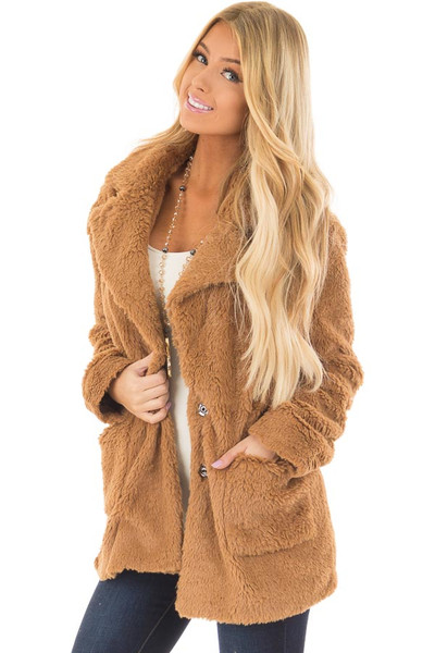 Camel Faux Fur Jacket with Pockets and Button Closure front closeup