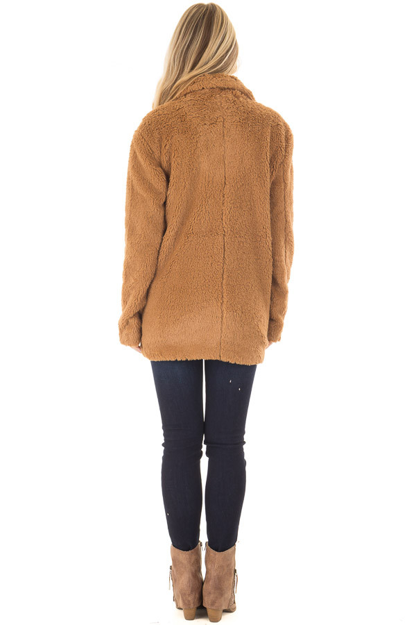Camel Faux Fur Jacket with Pockets and Button Closure back full body