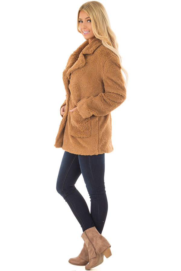 Camel Faux Fur Jacket with Pockets and Button Closure side full body