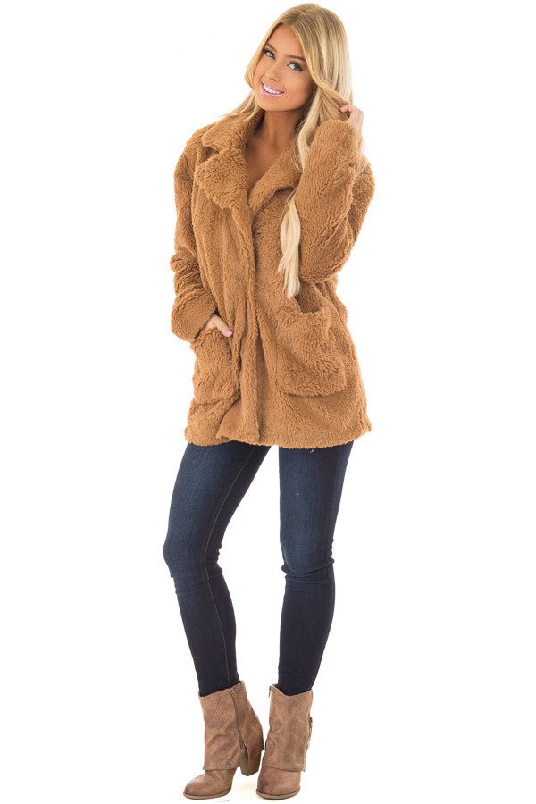 Camel Faux Fur Jacket with Pockets and Button Closure front full body