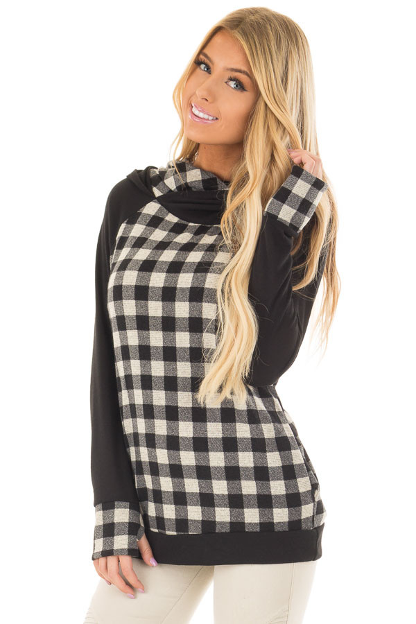 Black Plaid Double Layered Hoodie front closeup