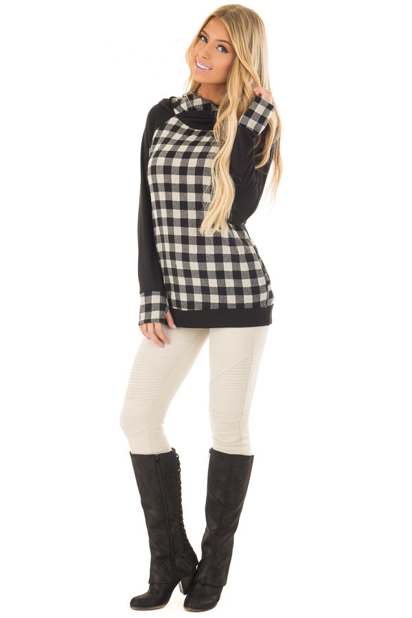Black Plaid Double Layered Hoodie front full body