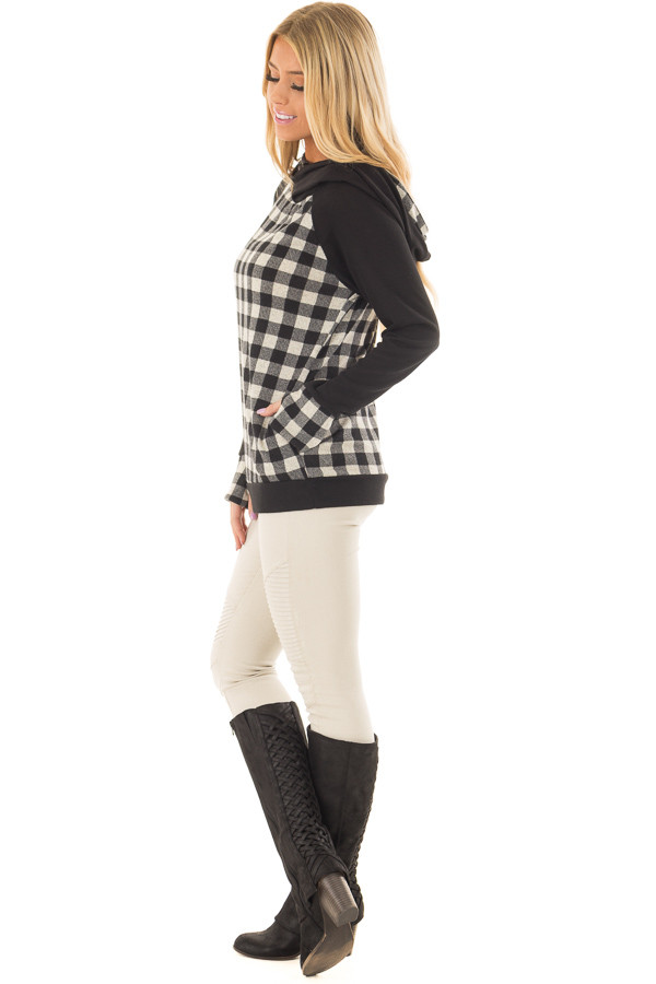 Black Plaid Double Layered Hoodie side full body