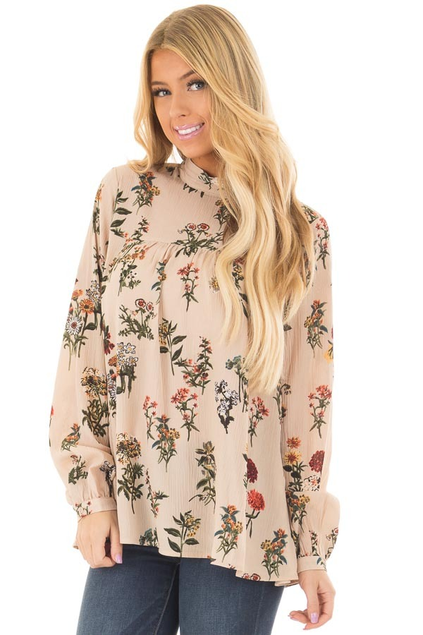 Beige Floral Print High Neck Blouse with Keyhole Back front closeup