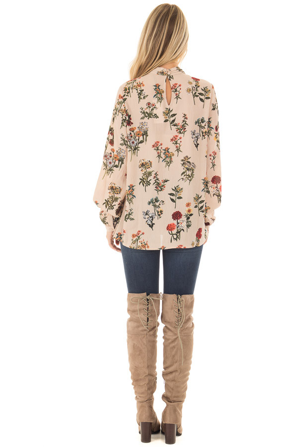Beige Floral Print High Neck Blouse with Keyhole Back back full body
