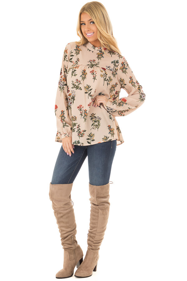 Beige Floral Print High Neck Blouse with Keyhole Back front full body