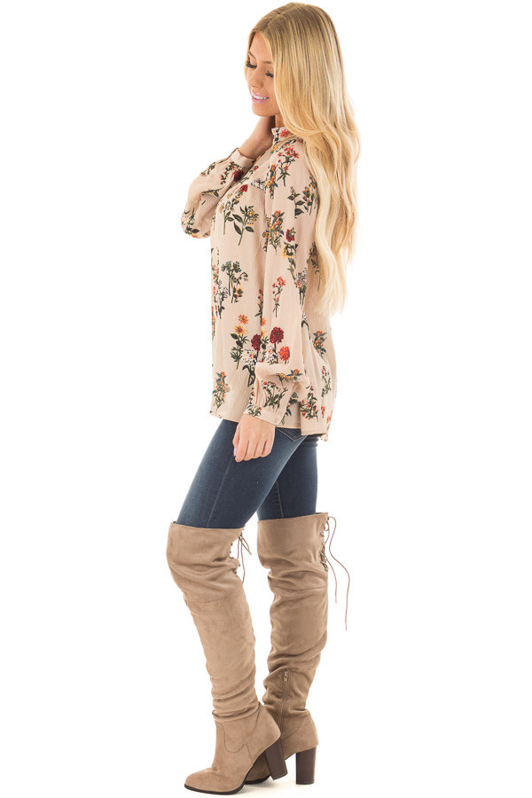 Beige Floral Print High Neck Blouse with Keyhole Back side full body