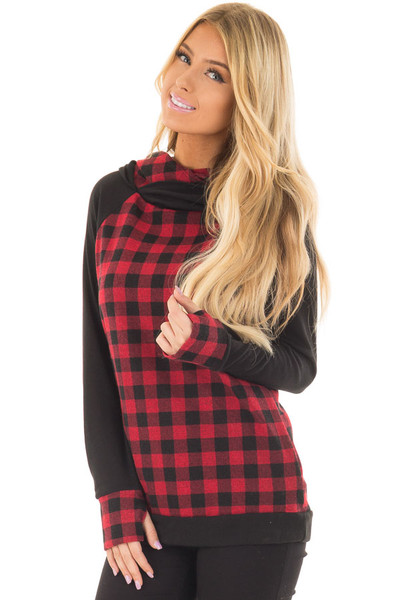Red Plaid Double Layered Hoodie front closeup