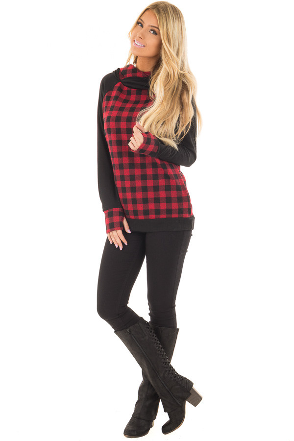 Red Plaid Double Layered Hoodie front full body