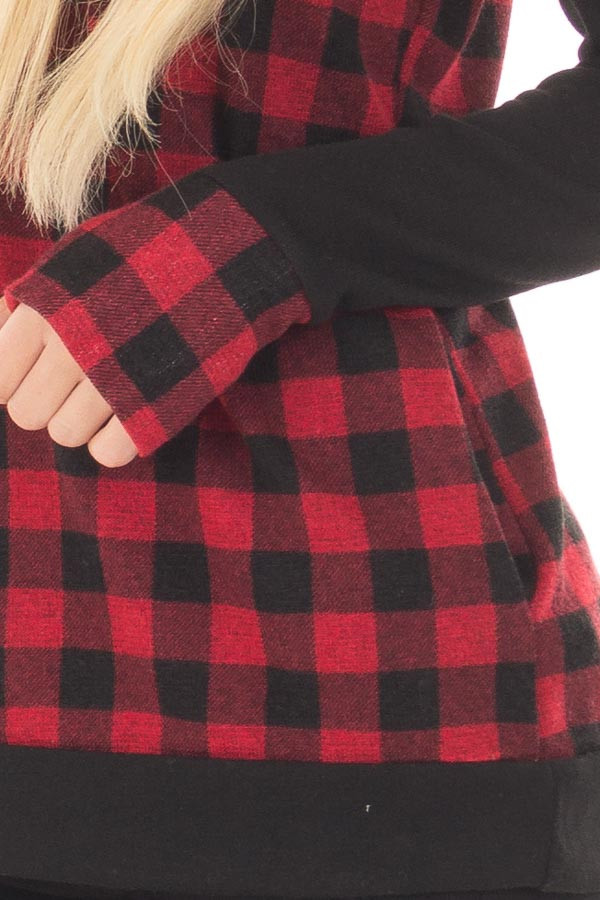Red Plaid Double Layered Hoodie front detail