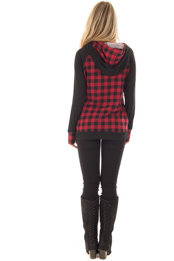 Red Plaid Double Layered Hoodie back full body