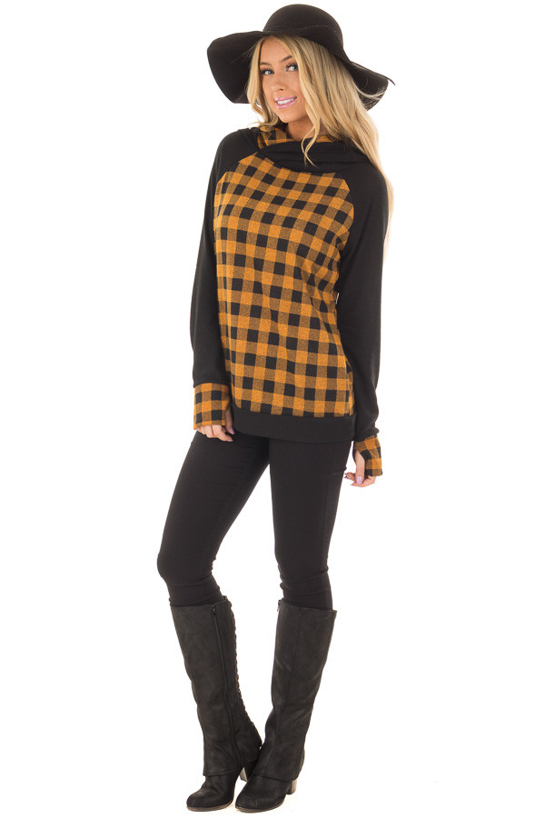 Mustard Plaid Double Layered Hoodie front full body
