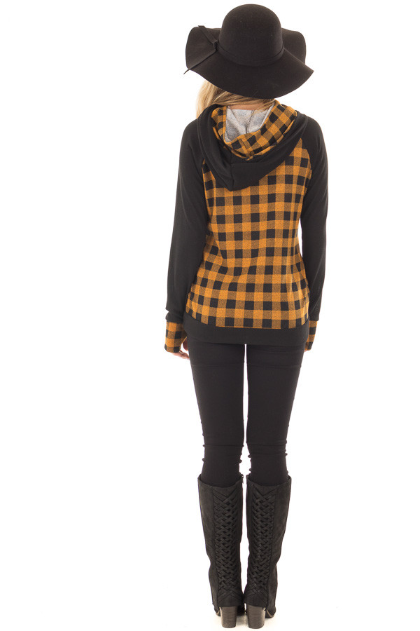 Mustard Plaid Double Layered Hoodie back full body