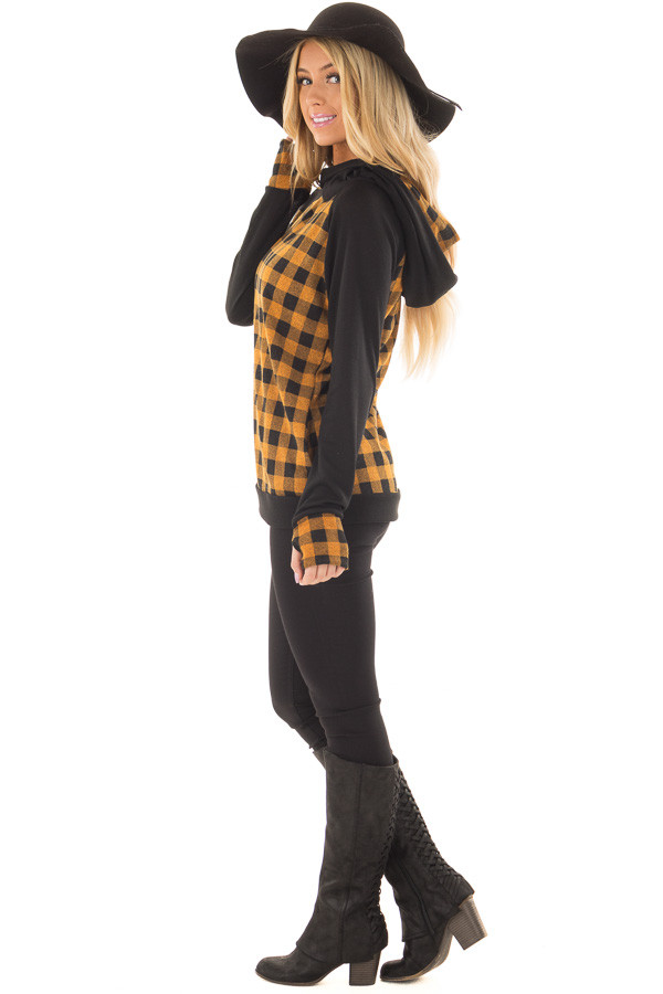 Mustard Plaid Double Layered Hoodie side full body
