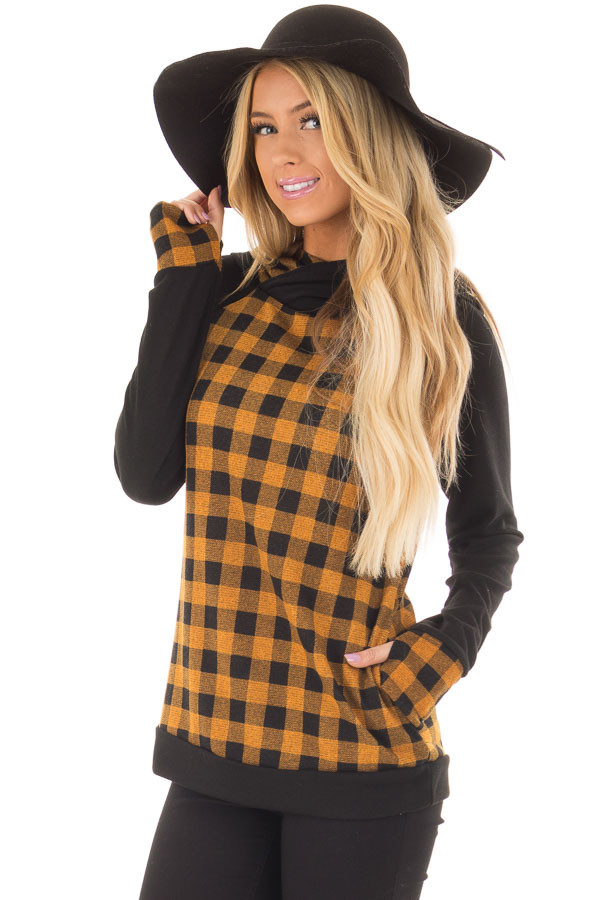Mustard Plaid Double Layered Hoodie front closeup