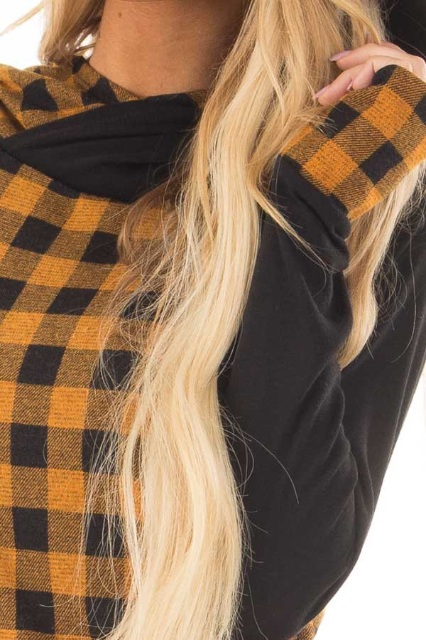 Mustard Plaid Double Layered Hoodie front detail