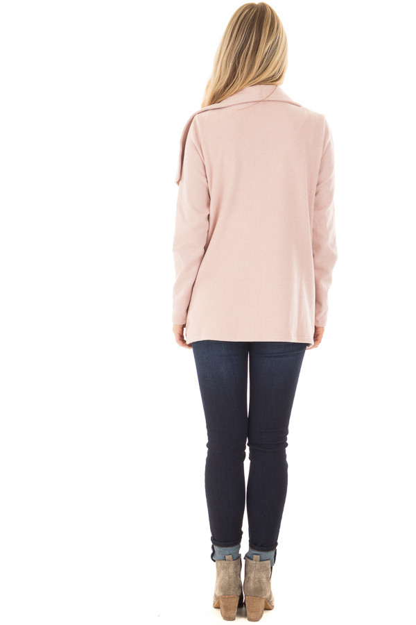 Blush Super Soft Open Jacket with Knit Contrast Sleeves back full body