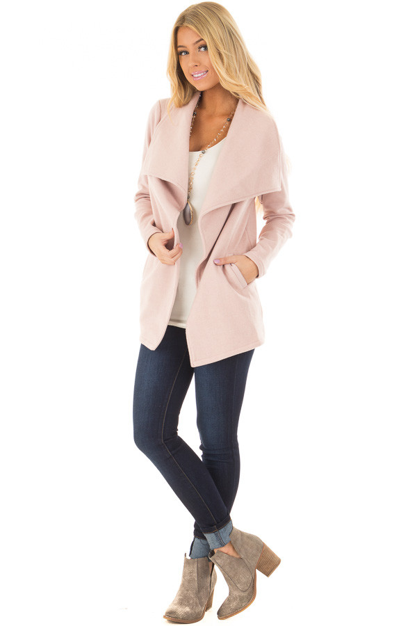 Blush Super Soft Open Jacket with Knit Contrast Sleeves front full body